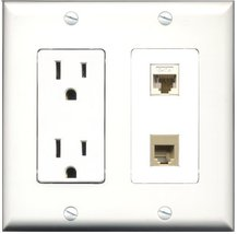 RiteAV - 15 Amp Power Outlet and 1 Port Phone RJ11 RJ12 Beige and 1 Port... - $29.69