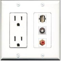 RiteAV - 15 Amp Power Outlet 1 Port RCA Red 1 Port USB A-A 1 Port BNC De... - $29.69