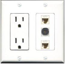 RiteAV - 15 Amp Power Outlet 1 Port Toslink 2 Port Cat6 Ethernet Etherne... - $29.69
