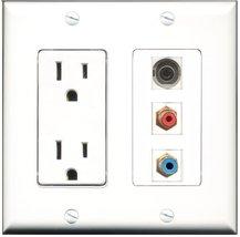 RiteAV - 15 Amp Power Outlet 1 Port RCA Red 1 Port RCA Blue 1 Port 3.5mm... - $34.99