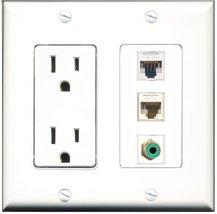 RiteAV - 15 Amp Power Outlet 1 Port RCA Green 1 Port Cat5e Ethernet Whit... - $29.69