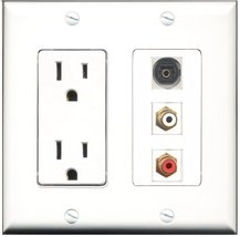 RiteAV - 15 Amp Power Outlet 1 Port RCA Red 1 Port RCA White 1 Port Toslink Deco - $29.99