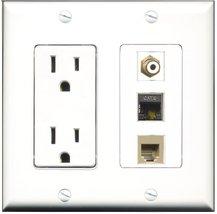 RiteAV - 15 Amp Power Outlet 1 Port RCA White 1 Port Phone Beige 1 Port Shiel... - $29.69