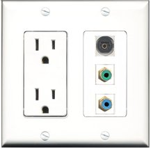 RiteAV - 15 Amp Power Outlet 1 Port RCA Green 1 Port RCA Blue 1 Port Tos... - $29.69