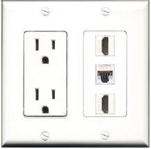 RiteAV - 15 Amp Power Outlet 2 Port HDMI 1 Port Cat5e Ethernet White Dec... - $29.69