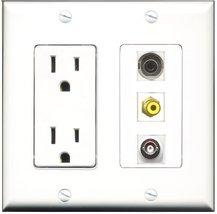 RiteAV - 15 Amp Power Outlet 1 Port RCA Yellow 1 Port 3.5mm 1 Port BNC D... - $29.69