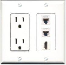 RiteAV - 15 Amp Power Outlet 1 Port HDMI 2 Port Cat5e Ethernet White Dec... - $29.69