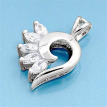 Sterling Silver Elegant CZ Heart pendant New Anniversary Gift d107 - $10.59