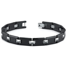 Men's European Style Tungsten and Ceramic Link Bracelet - $79.19