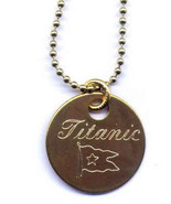 Solid Brass Necklace Titanic Novelty Engraved Locker Tag - $6.95
