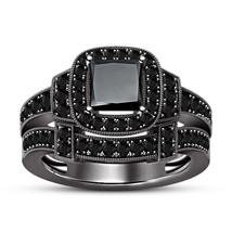 Black Gold Finish Solid 925 Sterling Silver Diamond Engagement Bridal Ri... - $94.88