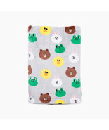 LINE Friends Gray Pattern Soft Microfiber Blanket Large Naver Character ... - $45.77