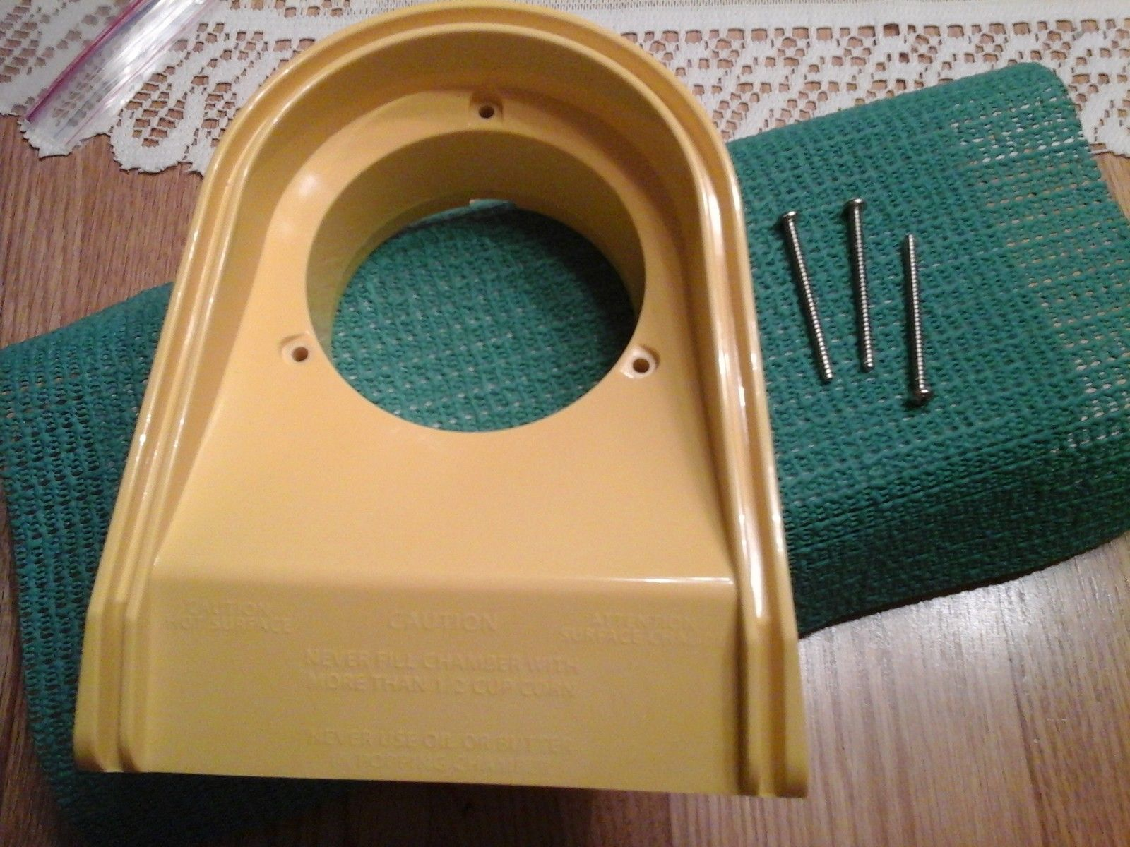 Primary image for part for presto pop lite air popper yellow chute new with screws #04820