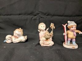 LOT OF 3 VINTAGE PORCELAIN CERAMIC CHILD CHERUB ANGEL FIGURINES STATUES ... - $19.79