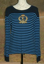 Ralph Lauren Size Large Navy Blue Stripe Long Sleeve Shirt w/ Embroidere... - $20.18