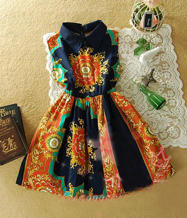 2012 spring summer dress enthic print navy