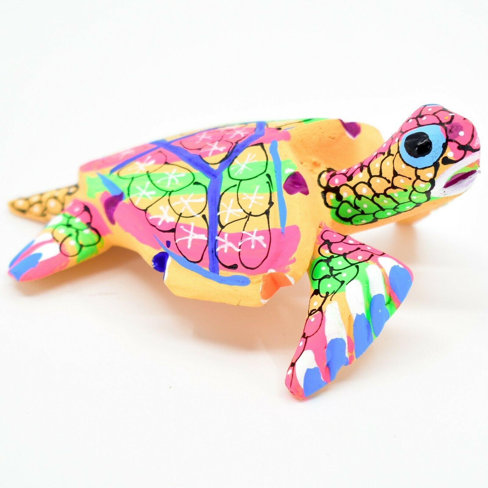 Handmade Oaxacan Copal Wood Carving Painted Sea Turtle Marine Figurine