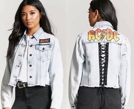 ACDC graphic acid wash denim jean crop jacket womens size LARGE ac/dc bl... - $49.98