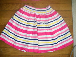 childrens place pink yellow white navy blue striped skirt size 6x / 7 girls - $7.72