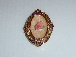 Vintage Enamel Pin Pendant With Rose - $10.00