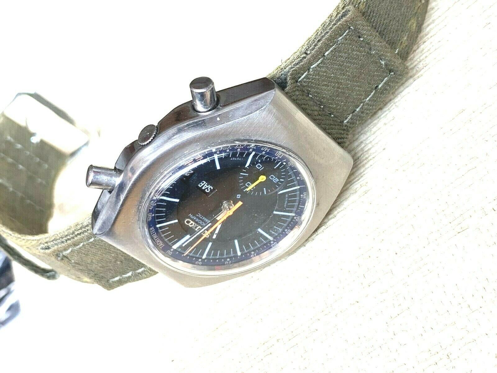 SEIKO VINTAGE 6139-7002 AUTOMATIC CHRONOGRAPH COMPLETE SERVICED sports band image 7