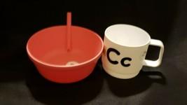 Pillowfort 13.5oz Plastic Kids Bowl w/Straw Pink & 8oz Plastic Kids cups... - $10.88