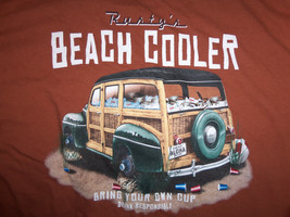 Rusty's Beach Cooler 'Bring Your Own Cup' Car Brown Graphic Half Shirt -... - $17.17