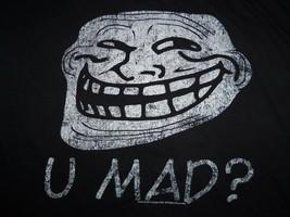 "Cool Face ""U Mad?"" Black Graphic Print T Shirt L - $17.17"