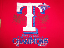 Texas Rangers 2011 Champions MLB Baseball Team Red  T Shirt M Free US Shipping - $15.45