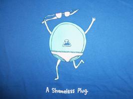 """A Shameless Plug"" Womens Blue Graphic Print T Shirt - XL - $15.72"