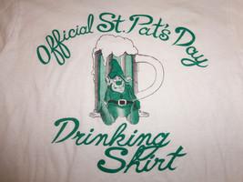 Official St. Pat's Day Drinking Shirt Leprechaun Beer White Long Sleeve Shirt L - $18.16