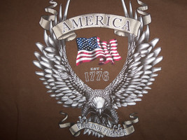 American Freedom Forever Patriotic Brown Graphic Print T Shirt - L - $15.45