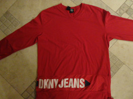 DKNY JEANS RED JERSEY SHIRT LONG SLEEVE ADULT M EXCELLENT FREE US SHIPPING - $34.49