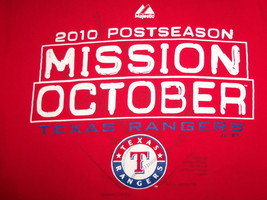 MLB Texas Rangers Baseball Mission October 2010 Red Graphic T Shirt - M - $17.17