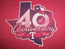 MLB Texas Rangers Baseball 2012 40th Anniversary Red 50/50 Graphic T Shirt - XL - $17.17