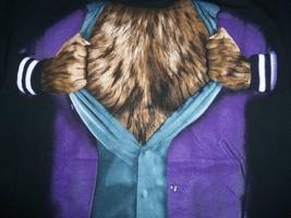 Teen Wolf Werewolf Movie Funny Humor Black Graphic Print T Shirt L - £12.48 GBP