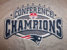 NFL New England Patriots 2003 AFC Champs Super Bowl XXXVIII (38) Gray T-... - $17.17