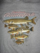 Gray Outdoor Gamefish Fishing T Shirt Adult XL Free Shipping US - $17.13