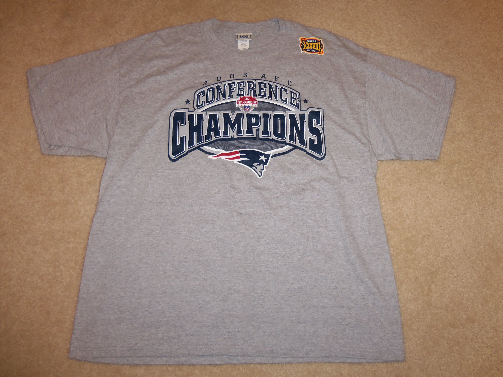 NFL New England Patriots 2003 AFC Champs Super Bowl XXXVIII (38) Gray T-Shirt XL