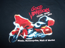 Good Vibrations Salem Keiser Motorcycle Music Navy Graphic Print T Shirt - M - $17.17
