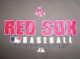 MLB Majestic Boston Red Sox MA Baseball Team Grey Graphic Print T Shirt M - $17.17