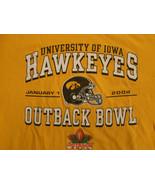 YELLOW NCAA UNIVERSITY OF IOWA HAWKEYES 2004 OUTBACK BOWL T SHIRT 2XL FR... - $24.55