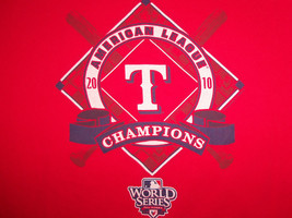 MLB Texas Rangers Baseball 2010 AL Champs World Series Red Graphic T Shirt - XL - $15.45