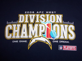 Reebok NFL San Diego Chargers Football 2006 AFC West Div. Champs Navy T Shirt XL - $17.17