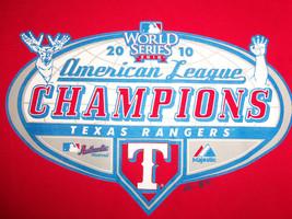 MLB Texas Rangers Baseball 2010 AL Champs World Series Red Graphic T Shirt - L - $17.17