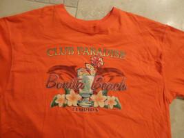 Club Paradise Bonita Beach Florida Orange Beach Tshirt Adult L Free Us Shipping - $14.69