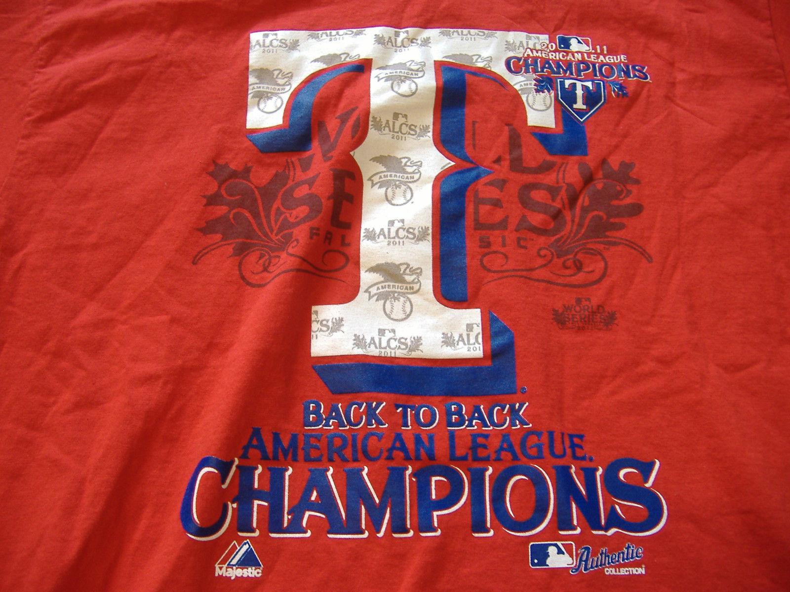 MLB Texas Rangers Baseball 2011 American League Champions Red Graphic Shirt - L - $17.17