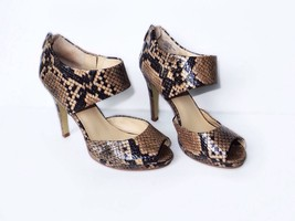Nine West Snakeskin Open Toe Heels Sz 6.5  Black Tan - $44.10