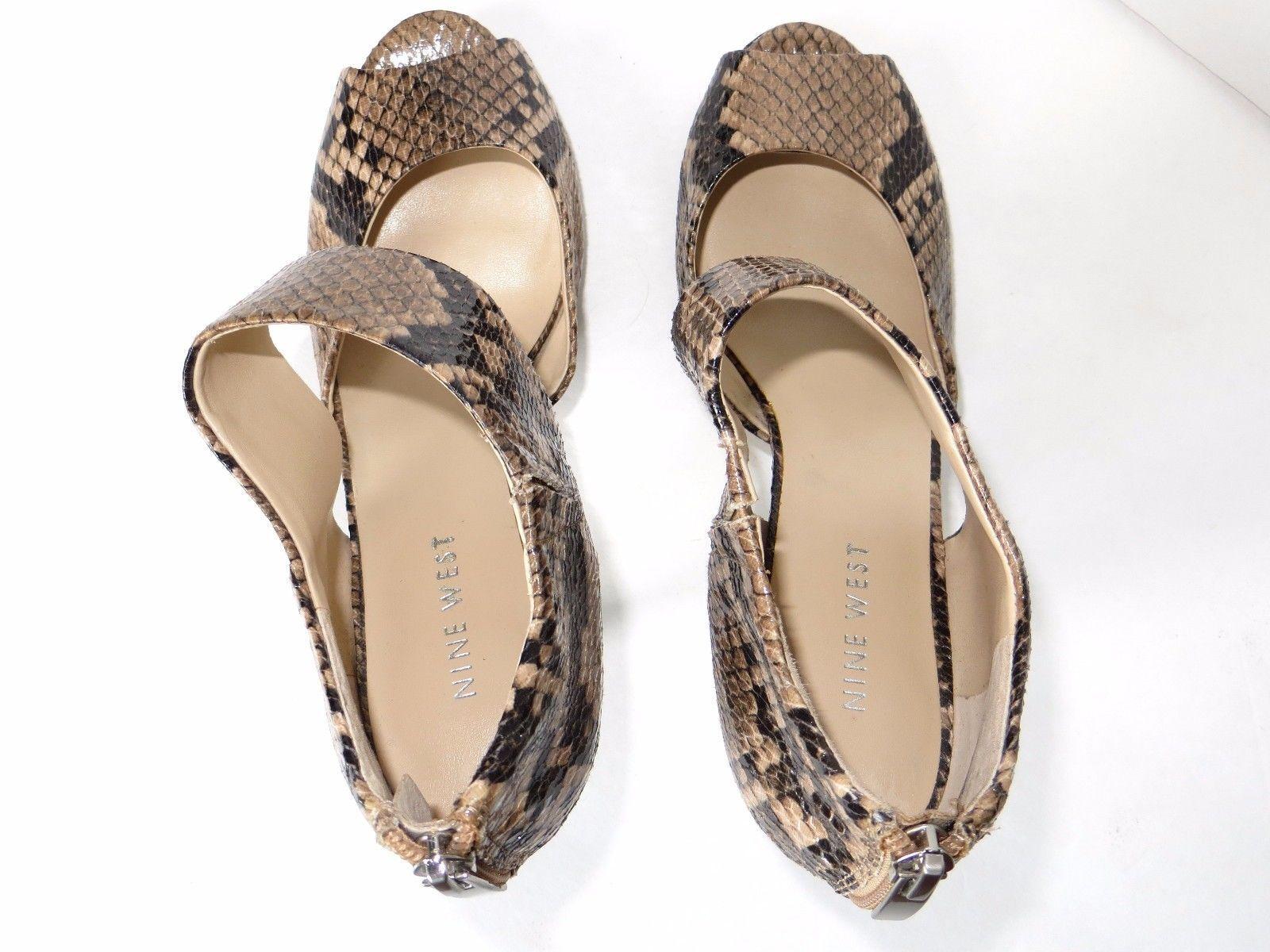 Nine West Snakeskin Open Toe Heels Sz 6.5  Black Tan