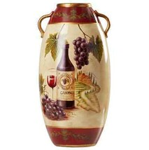 Handcrafted Ceramic Vase With Wine Bottle & Grapes Beautifully Hand Pain... - $60.89